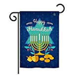Ornament Collection GS191061-BO Happy Hanukkah Winter Hanukkah Impressions Decorative Vertical 13″ x 18.5″ Double Sided Garden Flag Set with Banner Pole Included Printed in USA Review