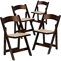 Flash Furniture 4 Pk. HERCULES Series Fruitwood Wood Folding Chair with Vinyl Padded Seat