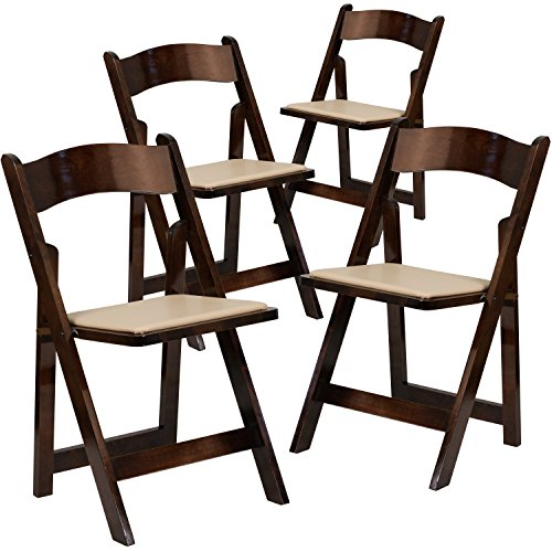 Cheap Flash Furniture 4 Pk. HERCULES Series Fruitwood Wood Folding Chair with Vinyl Padded Seat