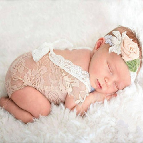 Mummyhug Newborn Cute Baby Girl Photography Prop Vest Onesie with Bowknot (Off-White)