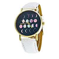 David Fashion New Colorful Moon Phase Astronomy Space Watch Unisex Teen Leather Quartz Gift - White Gold