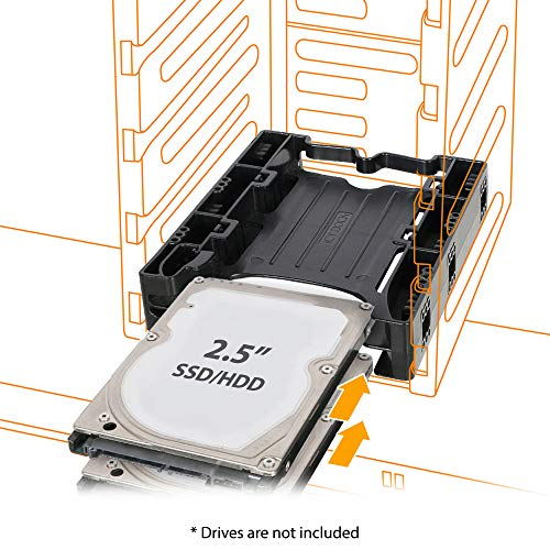 ICY DOCK Dual Tool-Less Dual 2.5 to 3.5 HDD Drive Bay SSD Mounting Bracket Kit Adapter - EZ-Fit Lite MB290SP-B ()