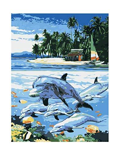 Tworidc5-40x50cm FramedUPUPUPUP Isla DIY Pintura por Números Resumen Dolphin Swim Pintura Al óleo sobre Lienzo Acrílico Arte de la Parojo Decoración para El Hogar, Tworidc5-50X70Cm Enmarcado