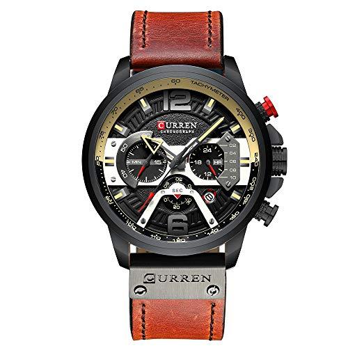 Mens Watches,CURREN Watches Quartz Analog Calendar Wrist Watch for Men, Fashion Waterproof Watch with Leather Strap