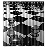 "66""(W) x 72""(H) Chessboard Art New Style 100% Polyester Shower Curtain"