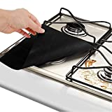 Jinxuny 4Pack Gas Hob Range Protectors - Oven Liner Teflon Cooker Covers Reusable Gas Stove Mats, Non-Stick Fast Clean FDA Approved 10.6' X 10.6' (Color : Black)