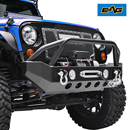 EAG Front Bumper with D-rings and Winch Plate Fit for 07-18 Jeep Wrangler JK Rock Crawler ()