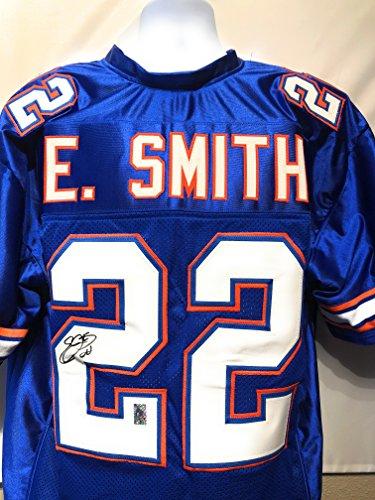- Emmitt Smith Florida Gators Signed Autograph Blue Custom Jersey E Smith GTSM Hologram Certified