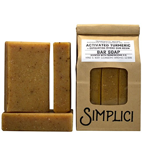 (SIMPLICI Activated Turmeric & Exfoliating Myrrh Bar Soap Scented with Frankincense Pure Essential Oil. 3 Bar Bag. Large 5 Ounce Bars. PALM OIL FREE. Eco Friendly Packaging.)