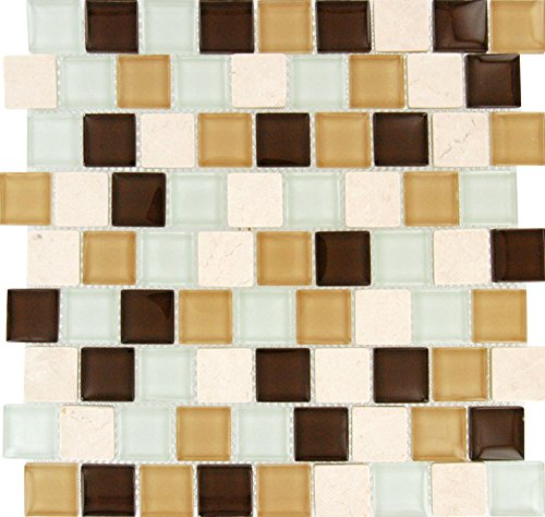 M S International Desert Mirage 1.25 In. X 1.25 In. X 8mm Glass Stone Mesh-Mounted Mosaic Tile, (10 sq. ft., 10 pieces per case) (Mirage Tile)