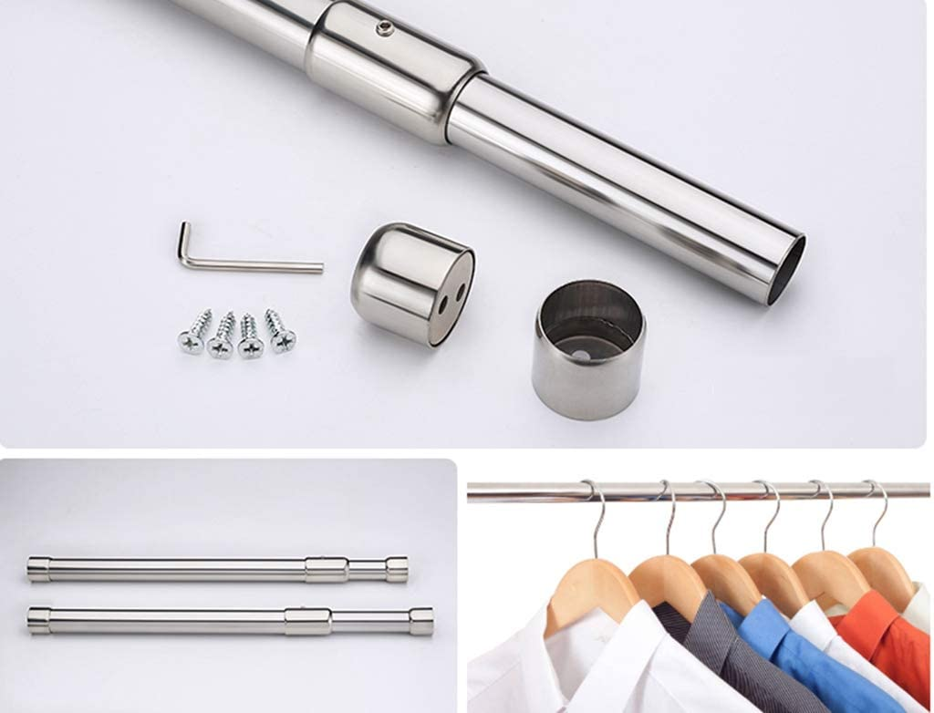 Thickening Adjustable Closet Rod,57.5cm to 102cm Stainless Steel Clothes Rod
