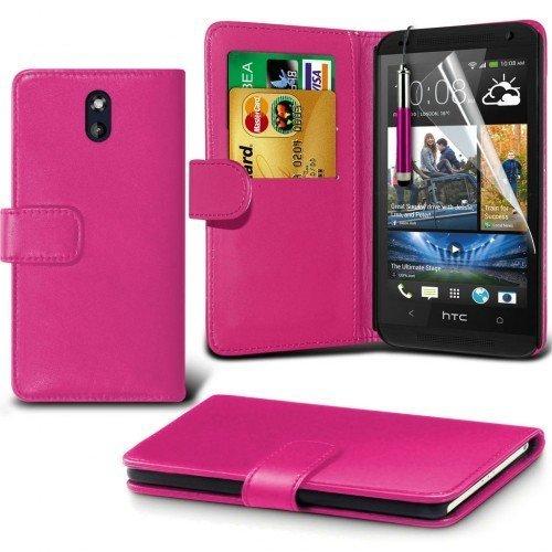 HTC Desire 610 Cubierta del caso con cuero (Rosa caliente) Plus de regalo libre, Protector de pantalla y un lápiz óptico, Solicitar ahora mejor caja del teléfono Valorado en Amazon! By FinestPhoneCase