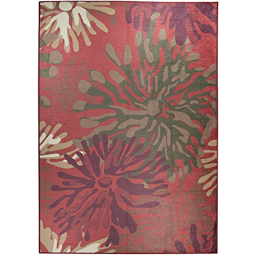 (RUGGABLE Washable Stain Resistant Pet Dog Area Rug for Indoor/Outdoor - Mum Floral Red 5' x 7' Area Rug Set)