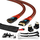 MAXIMM HDMI Male To Female Extension Cable 25FT For Ethernet 3D 4K Audio Return Blu-Ray Playstation XBox Streaming Jacketed Shielded Cables - Cable Sleeve Ties Clips 90 & 270 Degree Adapter Included
