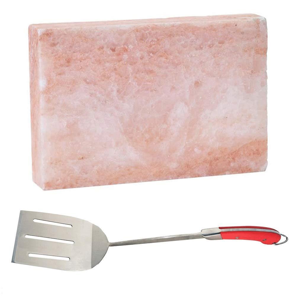 Bull Gourmet Himalayan Pink Salt Block & Avant Long Handle Flat Grilling Spatula
