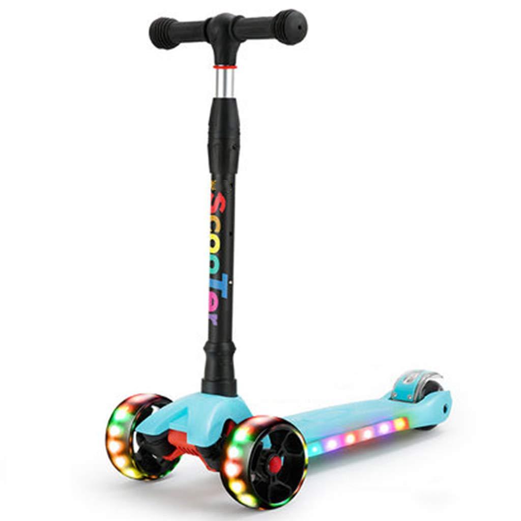 男の子及び女の子のための四輪高さ調節可能なTバー点滅LEDホイールスクータースムーズなライディングに傾くキックスクーターの快適さ持ち運びが簡単 B07QVP9V48 A A