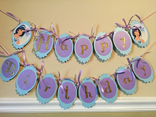 New..Princess Jasmine, Aladdin Theme Birthday Decor, Happy Birthday -