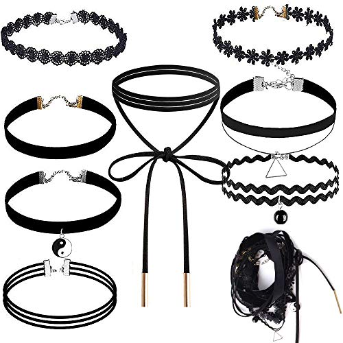 Choker Set, Outee 9 Pcs Black Choker Necklace Velvet Choker Black Henna Tattoo Choker for Girls Womens