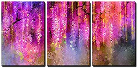 Wall26 3 Piece Canvas Wall Art Abstract Violet Red And Yellow Color Flowers Watercolor Painting Modern Home Art Stretched And Framed Ready To Hang 16 X24 X3 Panels Posters