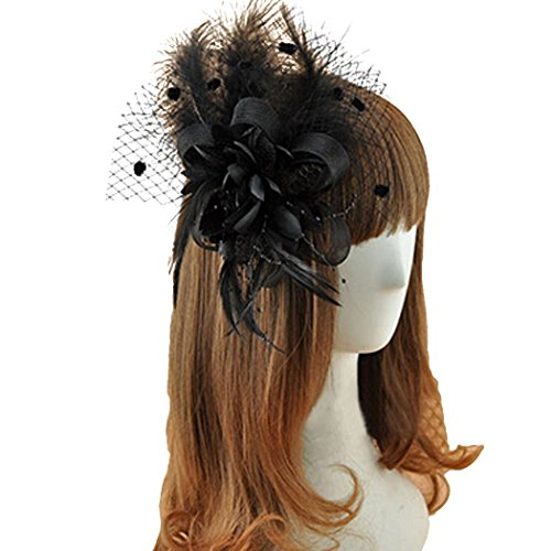 Coolr Fascinator Hair Clip Feather Wedding Headwear Bridal Headpiece for Women ( Black)