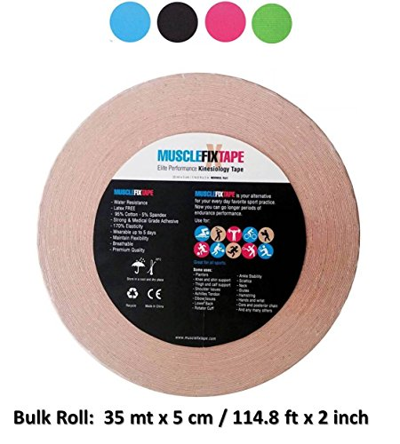 Beige Kinesiology Tape Uncut Roll – Big Bulk Jumbo Clinical Size for Athletes Shoulder Thigh Back Knee Arm Shin Splint Achilles Heel Calf (35 mt x 5 cm / 114.8 ft x 2 in) kinesio-Tapes kinesiotapes