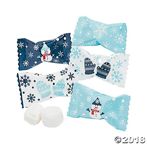 Winter Buttermints - 108 Individually Wrapped - Blue and White - Snowman, Mittens, Snowflakes ()