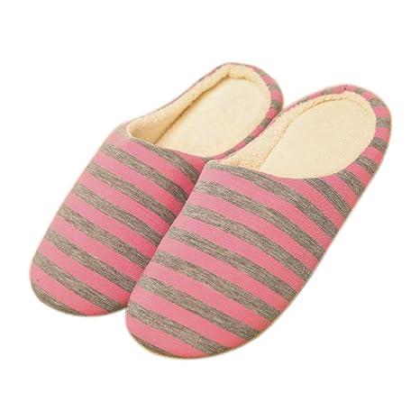 MoGist Zapatillas Algodón Pantuflas Invierno térmica Peluche Suave Zapatillas Toque Minimalista Dos Colores Rayas Indoor Home