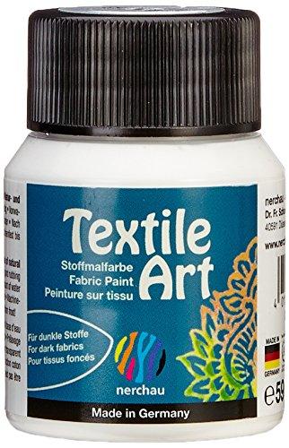 Nerchau 144102 - Textile Art Stoffmalfarbe für dunkle Stoffe 59 ml, Weiß