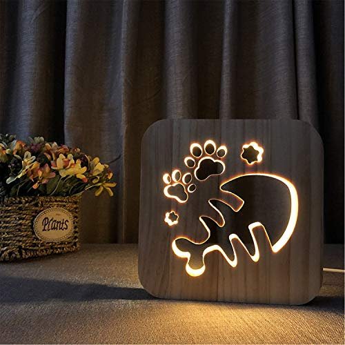 (EFGS 3D Wooden Table Lamp, LED Hand-Carved Night Light Solid Wood USB Shadow Light Bedroom Bedside Lamp, Halloween Christmas Valentine's Day Children's Day Gift(Fish Bones))
