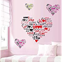 Romantic love pink red heart wallpaper romantic I love you wall stickers couple wedding room wall stickers bedroom…