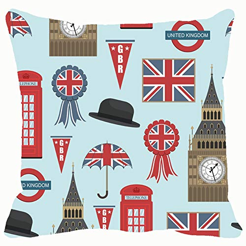 United Kingdom Graphics Clipping British Throw Pillows Covers Accent Home Sofa Cushion Cover Pillowcase Gift Decorative 18x18 inches -