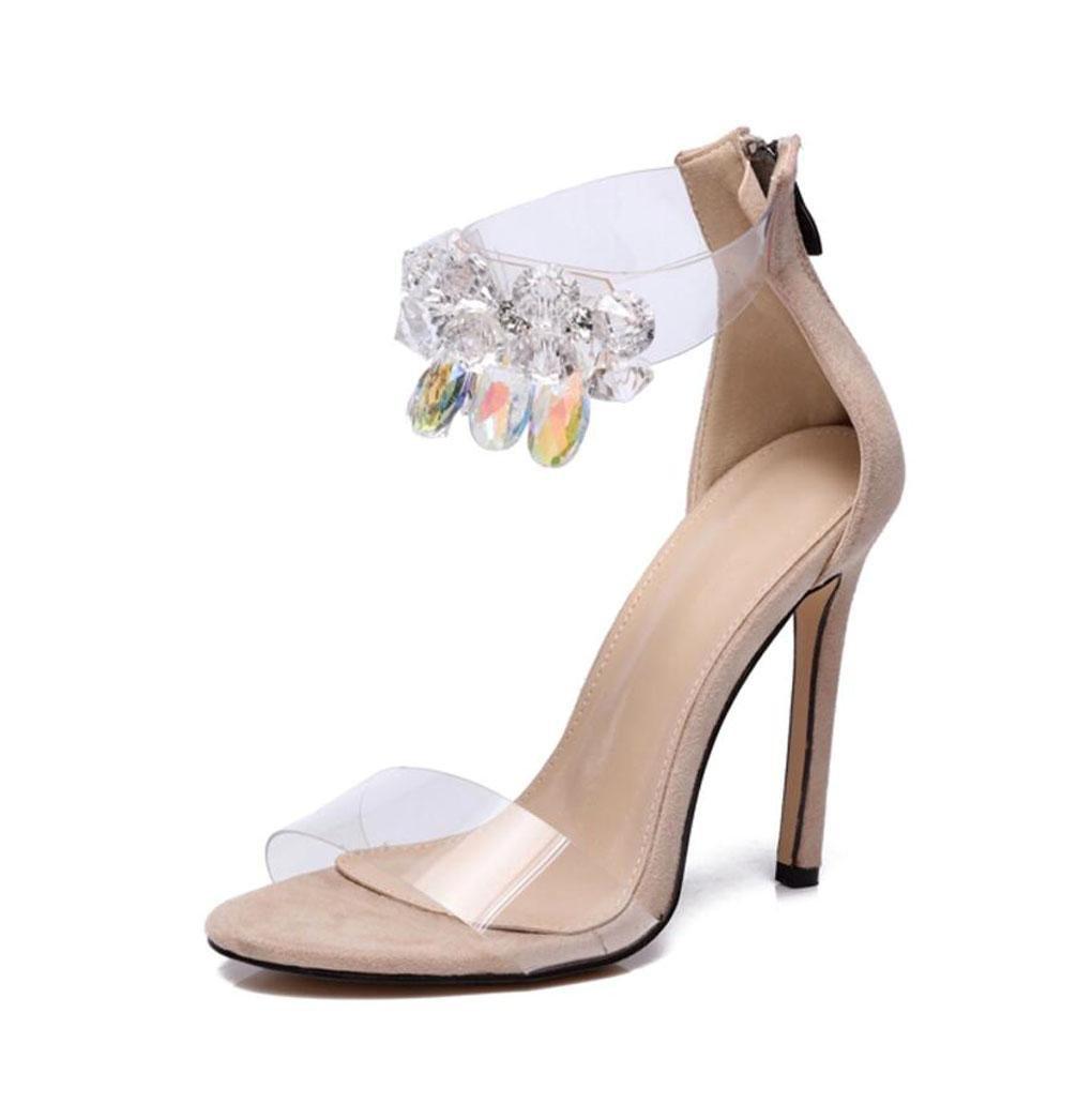 WSK Damen Sandaletten Schnallen Knöchelriemen Sandalen Kleid Sandalen Knöchelriemen Stilettos Offene spitze High Heel Für Hochzeit Abendschuhe 71824d