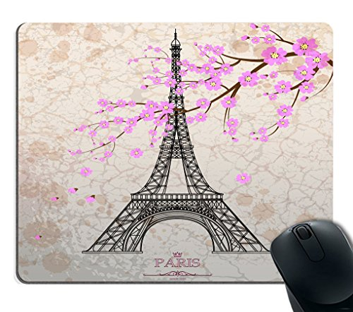Smooffly Gaming Mouse Pad Custom,Vintage Eiffel tower on grunge background Non-slip Thick Rubber Large Mousepad Mat -