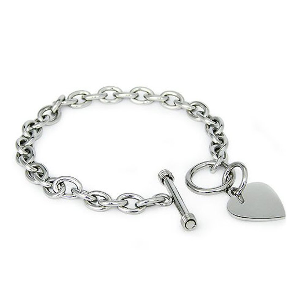 Crazy2Shop Stainless Steel Trendy Cable Chain Bracelet with Heart Charm and Toggle Clasp Closure, High Polished Finished, 7.5''