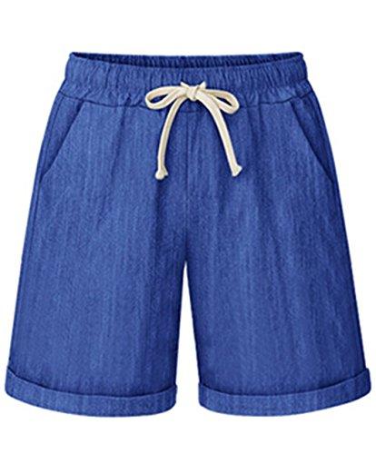 Vcansion Drawstring Elastic Waist Casual Comfy Cotton Linen Beach Shorts for Women Blue US 8-10/Asian 3XL ()
