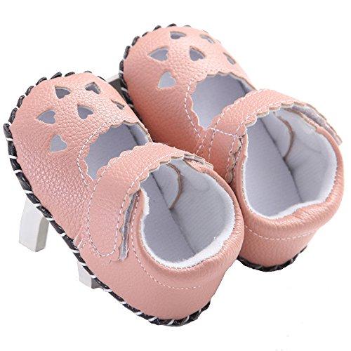 waylongplus Baby Walking de piel sintética infantil Soft Sole Cuna zapatos de Prewalker blanco roto blanco Talla:13(12-18 meses) rosa