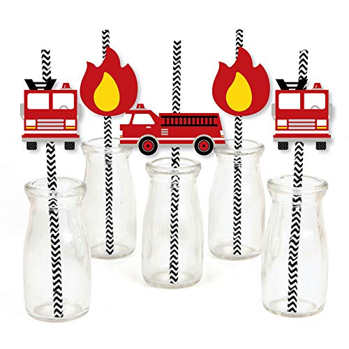 (Fired Up Fire Truck - Paper Straw Decor - Firefighter Firetruck Baby Shower or Birthday Party Striped Decorative Straws - Set of)