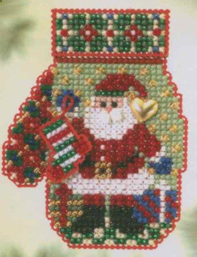Santa's Night Beaded Counted Cross Stitch Kit Mill Hill 2005 Charmed Mitten Ornaments (Hill Ornament)