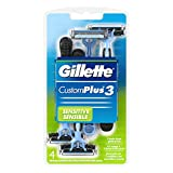 Gillette CustomPlus 3 Disposable Razor, Sensitive, 4 Count, Mens...