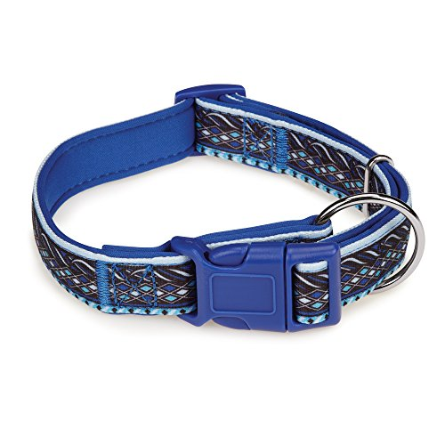 "Casual Canine Neoprene Dog Collar, Fits Necks 14"" to 20"", Blue Aztec"