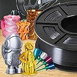 SUNLU PLA Silk BlackGrey Filament 1.75mm 3D Printer Filament, 1KG 2.2 LBS Spool, Shiny Metallic PLA Silk Filament