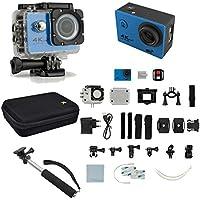 4K Ultra HD 16MP 1080p 60fps Blue Sports Action Camera + Monopod/Case Value Kit