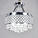 MonaLisa Gallery Crystal Chandeliers Flush Mount Ceilling Pendant Light Fixture SML-118-S W14XH16 For Sale
