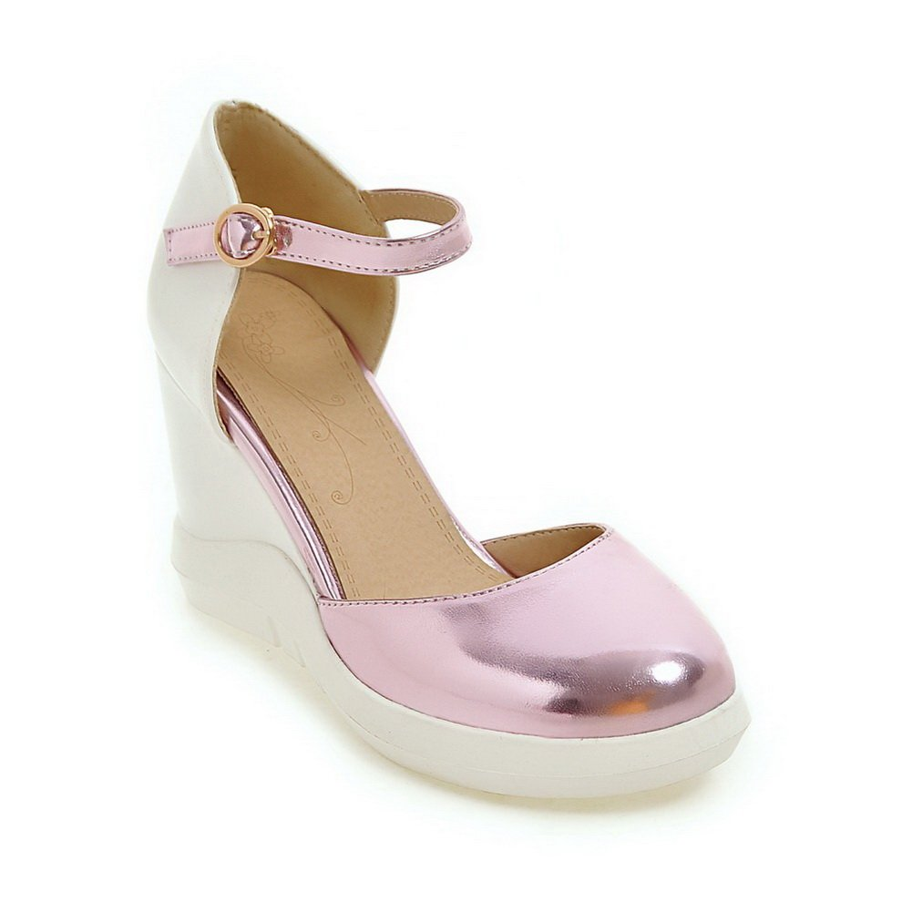 BalaMasa Womens Wedges Platform Metal Buckles Urethane Platforms Sandals B07C7SN8J8 9 B(M) US|Pink