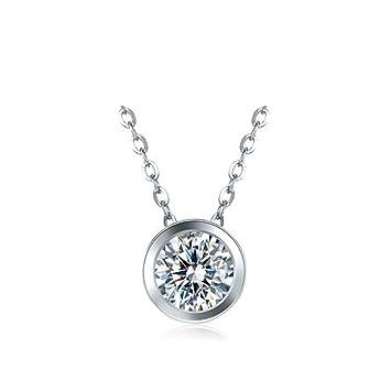 05fb52d1a4e9 Luziang Collar sección de OL de Moda Plata de Ley 925 Joyas joyería del  Collar del Diamante Redondo Regalo  Amazon.es  Hogar