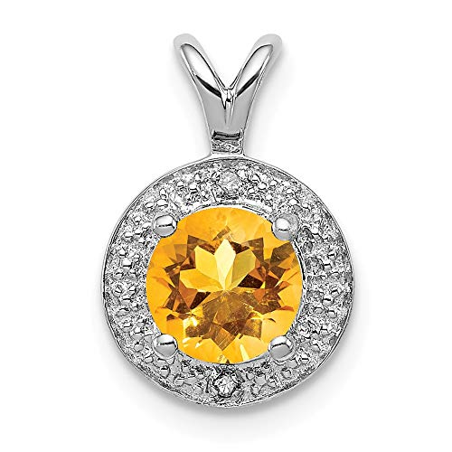 - 925 Sterling Silver Diamond Yellow Citrine Pendant Charm Necklace Set Birthstone November Fine Jewelry Gifts For Women For Her