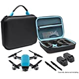 CaseSack Designed Protection Case for DJI Spark Mini Quadcopter Drone, Slots for extra batteries and propellers, Mesh Pocket for accessories (Black with contrast Sky Blue Handle and lining)