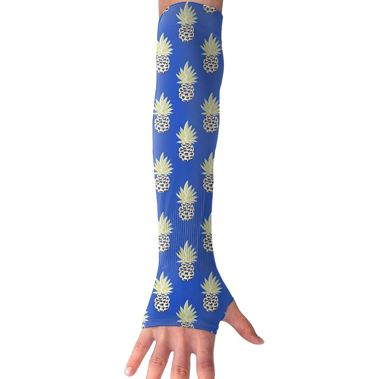 Unisex Drawing Pineapple In Blue Sense Ice Outdoor Sports Arm Warmer Long Sleeves Glove