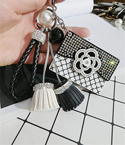 VT BigHome Mirror Color Rhinestones Keychain Llaveros Women Bag Black White Key Chain Car Key Ring