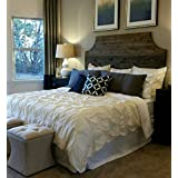 Full Dark Walnut with Corner Cut Outs Rustic Wood Headboard, Chic